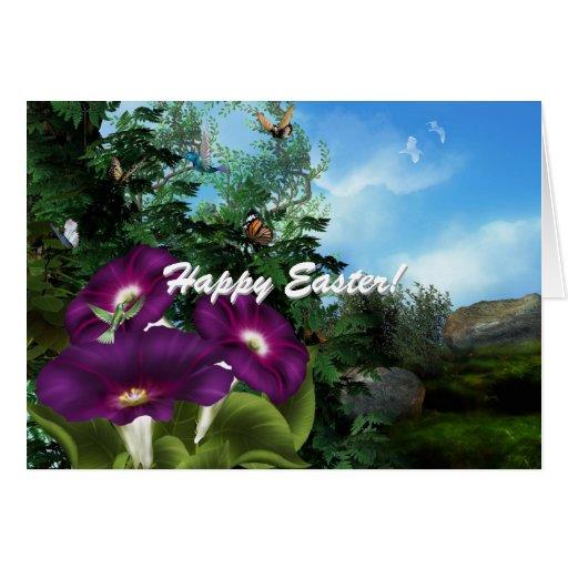 Easter Hummingbird Flowers Card
