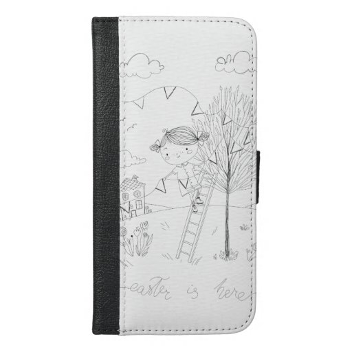 Easter Is Here Ink Drawing iPhone 6/6s Plus Wallet Case