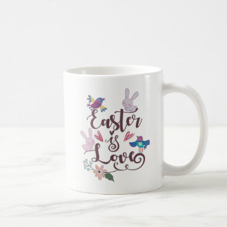 Easter Is Love With Bunnies and Birds Coffee Mug