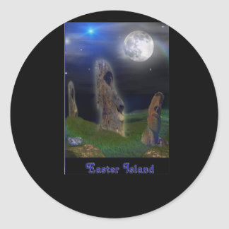 Easter Island  art Classic Round Sticker
