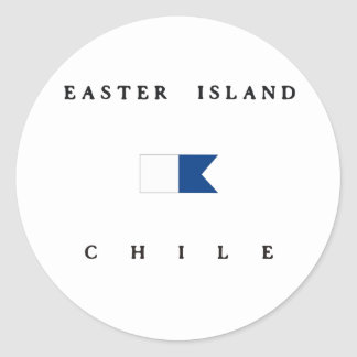 Easter Island Chile Alpha Dive Flag Classic Round Sticker