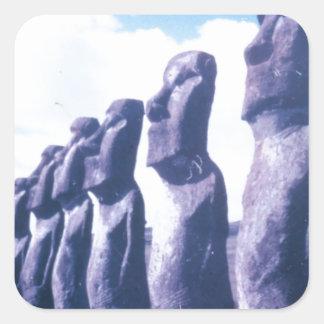 Easter Island Moai Heads Square Sticker