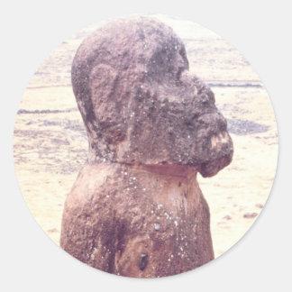 Easter Island Moai Sculpture Classic Round Sticker