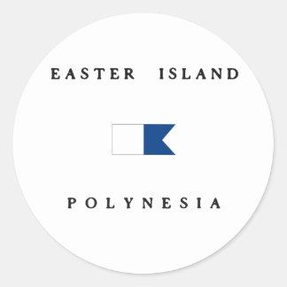 Easter Island Polynesia Alpha Dive Flag Classic Round Sticker