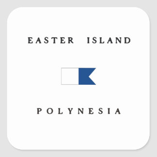Easter Island Polynesia Alpha Dive Flag Square Sticker