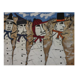 Easter Island Snow Men Postcard