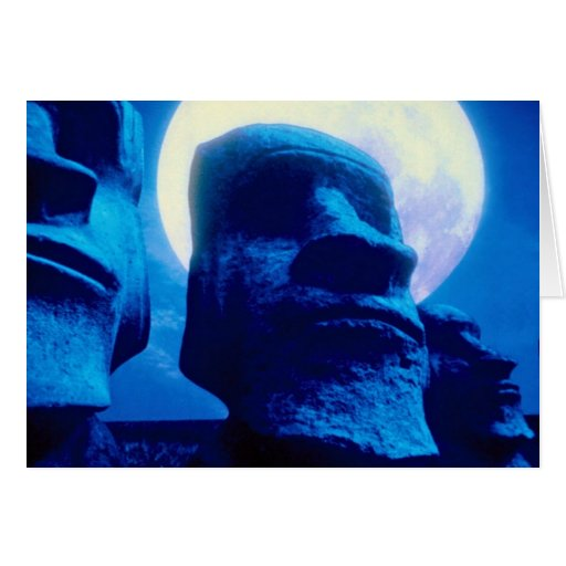 Easter Island statue with moon Card