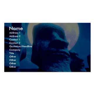 Easter Island statue with moon Double-Sided Standard Business Cards (Pack Of 100)