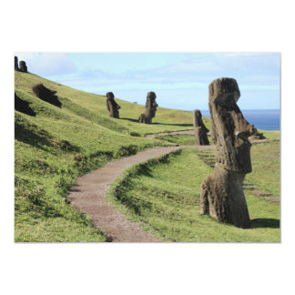 Easter Island Statues on Hill Card