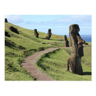 Easter Island Statues on Hill Postcard
