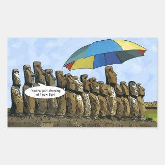 Easter Island statues Rectangular Sticker