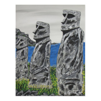 Easter Island Stone Men Postcard