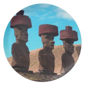 EASTER ISLAND TALKING HEADS MELAMINE PLATE