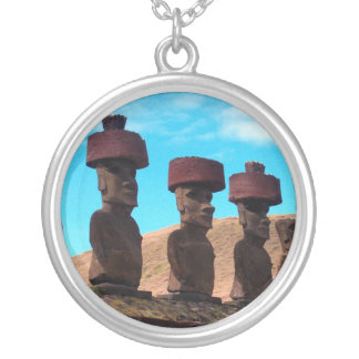 EASTER ISLAND TALKING HEADS ROUND PENDANT NECKLACE
