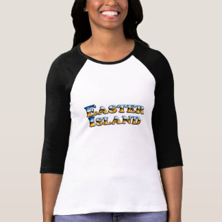 Easter Island Text - Ladies 3/4 Sleeve Raglan T-Shirt