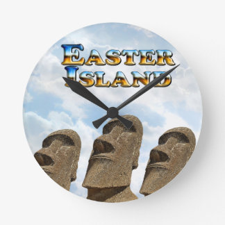 Easter Island Text - Multiple Products Round Clock