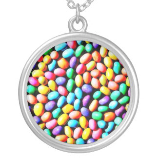 Easter Jelly Beans Silver Plated Necklace