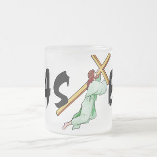 Easter Jesus Cross Frosted Glass Coffee Mug