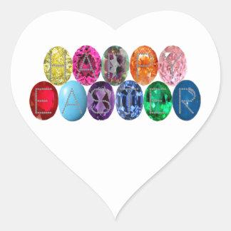 Easter Jewel Eggs Heart Sticker