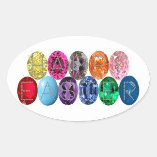 Easter Jewel Eggs Oval Sticker