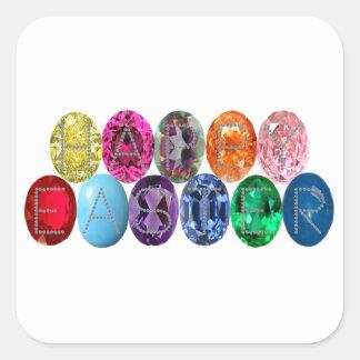 Easter Jewel Eggs Square Sticker