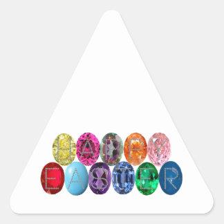 Easter Jewel Eggs Triangle Sticker