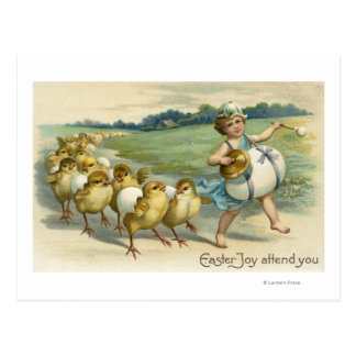 Easter Joy Attend YouChicks in a Parade Postcard