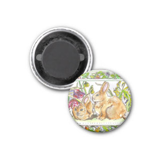 Easter Joy Bunnies & Flowers Magnet 1 Inch Round Magnet