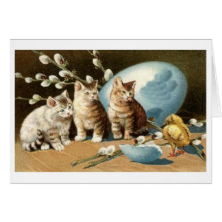 Easter Kittens and Baby Chick! Vintage Easter Card