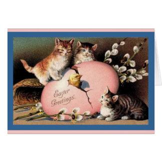 Easter Kittens Vintage Art Card