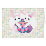 Easter Kitty and Bunny Greeting Card