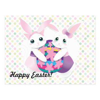 Easter Kitty and Bunny Postcard