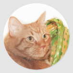 Easter kitty classic round sticker