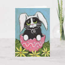 Easter Kitty Greeting Card - Created from an original painting © 2009 Lisa Marie Robinson.