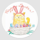 Easter Kitty // Happy Easter Classic Round Sticker