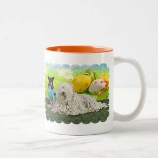 Easter - Komondor - Zoey - Basenji X - Jasper Two-Tone Coffee Mug