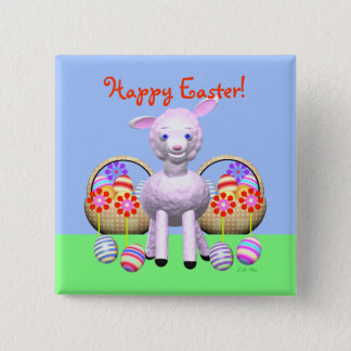 Easter Lamb and Baskets Button
