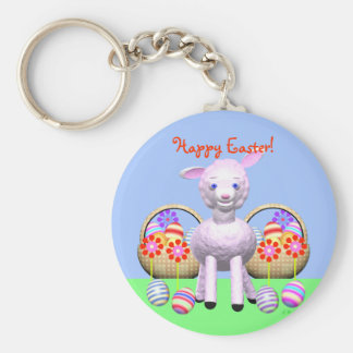 Easter Lamb and Baskets Keychain