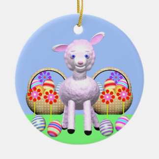 Easter Lamb and Baskets Double-Sided Ceramic Round Christmas Ornament