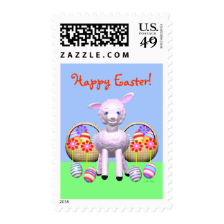 Easter Lamb and Baskets Postage Stamps