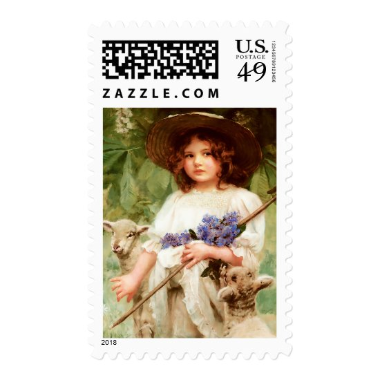Easter Lambs. Fine Art Postage Stamp
