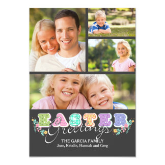 "Easter Letters Four Photo Card 5"" X 7"" Invitation Card"