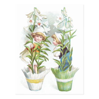 Easter Lilies and Children Vintage Postcard
