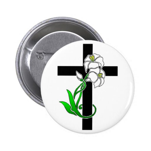 Easter Lilies and Cross Button