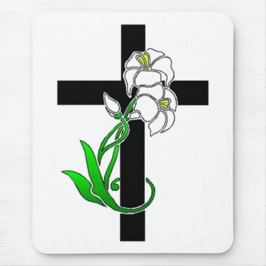 Easter Lilies and Cross Mouse Pad