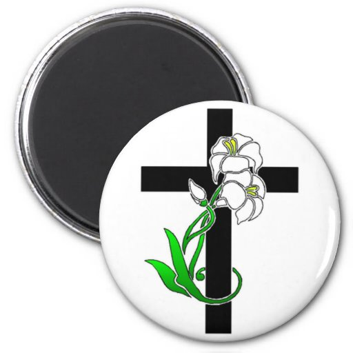 Easter Lilies and Cross Refrigerator Magnets