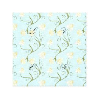 Easter lilies,art nouveau,trendy,pattern,mint,fun, canvas print