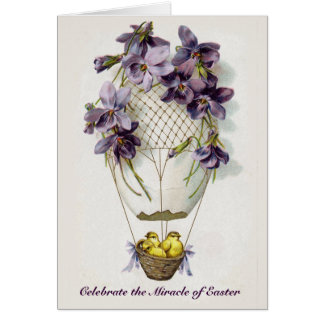 Easter Lilies Balloon Vintage Greeting Card