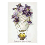 "Easter Lilies Balloon Vintage Invitation 5"" X 7"" Invitation Card"