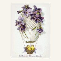 Easter Lilies Balloon Vintage Invitation
